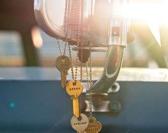 Key Necklace | Hand Stamped Vintage Repurposed Giving Gifting Boho Jewelry Uncut