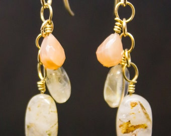 14k Gold Dangle Earrings with Peach Moonstone, Citrine, and Rutilated Quartz