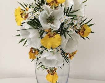 Poppies and Orchids Teardrop Wedding Bouquet