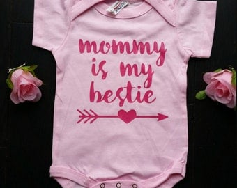 NewBorn - Baby Girl Pink Bodysuit - Mommy is my Bestie - Handmade Onesie 100% Cotton