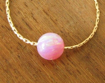 Opal Necklace, 4mm , opal ball necklace, opal gold necklace, opal bead necklace, opal jewelry, tiny gold necklace, dot necklace, pink opal