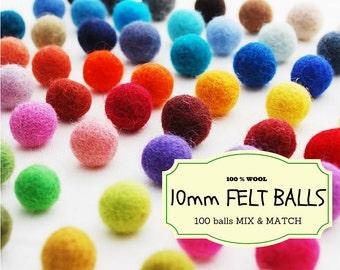 100 Wool Felt Beads, Mix and Match 10 mm/1 cm Wool Felt Balls, Multicolored Felted Balls in Bulk, Felted Beads, 100% Wool Felt Pom Poms