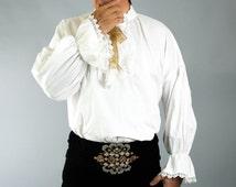 18th Century Men's Shirt, Men's White Shirt, 18th Century White Shirt, 18th Century Costumes, Men's Lace Shirts, Rococo Men's Costume.