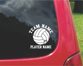 Set Volleyball  Sports Decals with custom text Fundraising  20 Colors To Choose From.  U.S.A Free Shipping