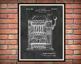 Patent 1932 Slot Machine - Art Print - Gambling Machine Art - Casino Wall Art - One Arm Bandit - Las Vegas Wall Art - Gambling - Gambler Art