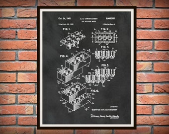 1961 Lego Patent Print Invented by G.K Christiansen - Wall Art - Art Print -Poster - Toy Building Brick Patent - Game Room Art