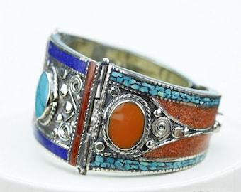 Stunning Workmanship! TURQUOISE Genuine Lapis Coral Filigree Native Tribal Ethnic Jewellery Tibet Tibetan Nepal OXIDIZED Silver Bangle B2274