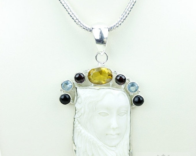 Lady with Feathers DEER ANTLER TOTEM Goddess Face Moon Face Bone Carving 925 S0LID Sterling Silver Pendant + 4MM Chain p3843