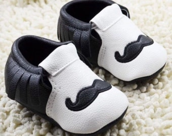 Mustache, Mustache Baby Shoes, Mustache Booties, Mustache Loafers, Mustache Crib Shoes