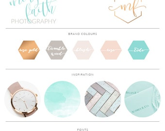 Teal Honeycomb Calligraphy Watercolor, Photography Branding Kit Logo Design, Rose Gold Blush, Premade Submark Watermark Stamp, 032