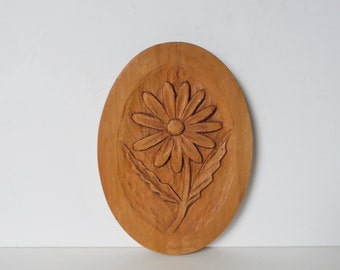 Mid Century Wooden Wall Decor Vintage wall hanging Vintage Wall Art Floral Wall Art Floral Decor Wooden Wall Art Carved Wood plaque