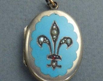 Fleur de lis silver gilt blue enamel locket with  pearls