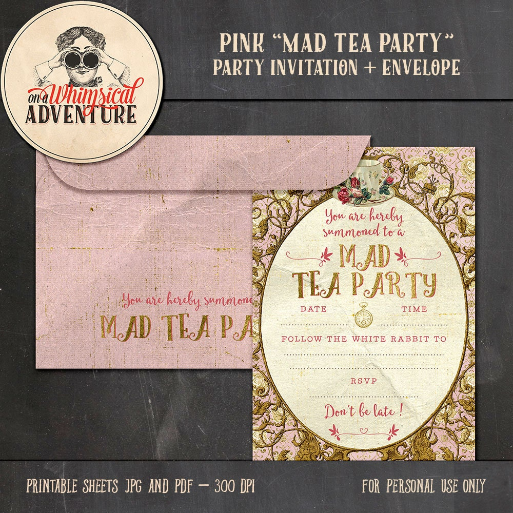 Alice In Wonderland Tea Party Invitation Party Printables