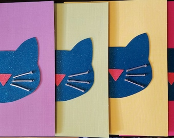 Cat Head Greeting Cards - 4 Pack - Assorted Colors