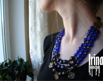 Sale Multi strand blue necklace. Ukrainian traditional necklace with crosses