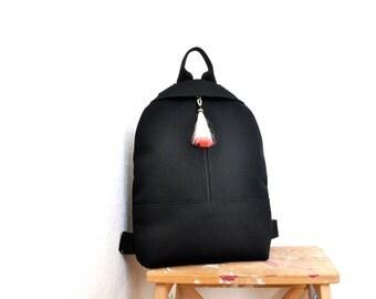 NEW black backpack, backpack purse, canvas backpack, cotton rucksack, black canvas, hipster backpack, canvas bag, MADE to ORDER