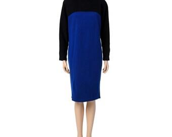 Vintage Electric Blue and Black Mod Dress