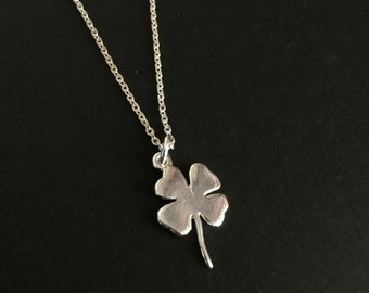 Sterling Silver Clover Necklace, Four Leaves Clover Necklace, Minimalist Necklace, Lucky Clover Necklace,Everyday Necklace,Shamrock Necklace
