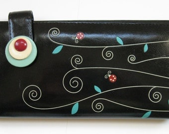 ADSA black wallet with Turquoise lining