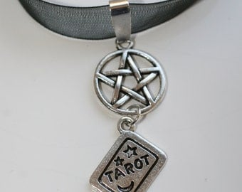 Tarot reader and pentacle double drop pendant! add some magic to your wardrobe or give someone a great gift!