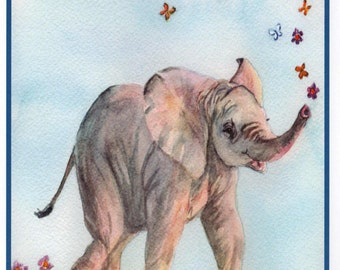 Mother's Day Elephant Love You a Ton Card.  Card for Moms.  Watercolor elephant Card by StellaJaneCards