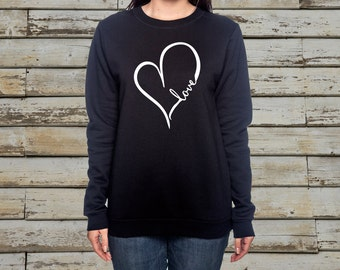 Love Heart Sweatshirt - Valentines Day - White/Gray/Black Sweatshirt
