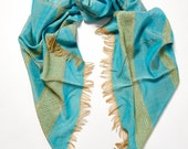Hand-made in Ethiopia: The Azeb Scarf in Turquoise