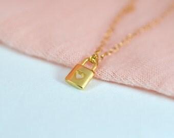 Gold lock necklace, Heart lock necklace, Tiny heart necklace, Gold heart locket necklace, Valentines day necklace, Pad lock necklace