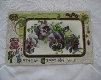 1911 Antique Art Nouveau Birthday Post Card, Are Nouveau Birthday Greeting, Violet Pansy Flower, Colorful Embossed Collectible Ephemera ~