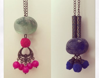 Stone long necklaces.