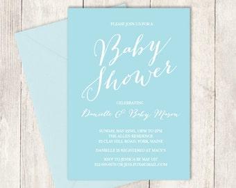 Elegant Baby Shower Invitation DIY / It's a Boy Baby Shower / Blue and White / Modern Calligraphy, Elegant Lettering ▷ Invite Printable PDF