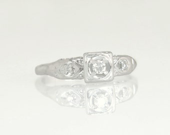 Antique Vintage Estate 14K White Gold .07ct Genuine Diamond Engagement Ring 2.2g