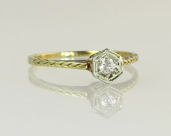 Antique Vintage Estate Engraved 14K Yellow Gold Genuine Diamond Art Deco Ring 1.5g