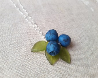 Blueberry necklace,forest necklace, miniature food jewelry, food necklace, miniatures, nature necklace, kawaii necklace, fruit jewelry