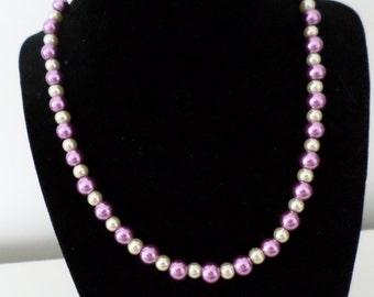 Mauve and cream bead necklace