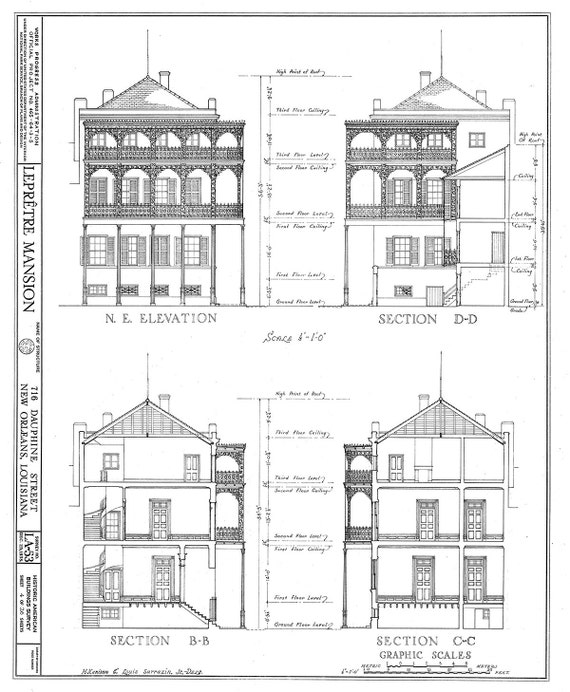New Orleans French Quarter Mansion Architectural Drawing