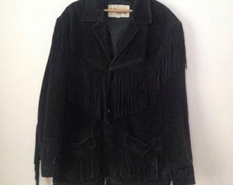Vintage Mens Wilson Black Suede Fringe Jacket Western XL