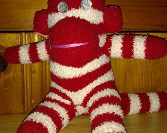 Red and White Striped Sock Monkey