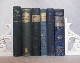 Antique Book Bundle in Blues and Greens, Decorative Books, Wedding Book Set