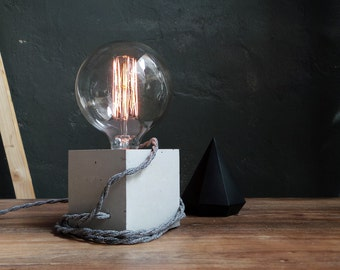 Concrete lamp with extra long textile cable. Concrete table lamp. Concrete desk lamp. Industrial light. Concrete light. Lighting Table lamp