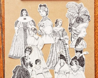 Costume and headdress decoupage cut-outs for scrapbooks, junk journals, smash books & craft projects