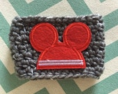 Cup Cozy - Crochet - Mickey Ears - Grey and Red - Coffee Sleeve