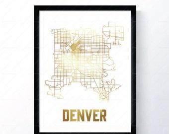 Denver, Colorado - Gold Foil Map