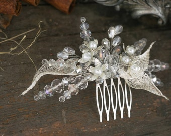 Silver Bridal Comb, Pearl and Crystal Comb, Wedding Hair Accessory