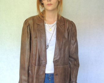 80s Vintage Brown Leather Jacket/ Womens Real Leather Jacket/ Vintage Oversized Jacket