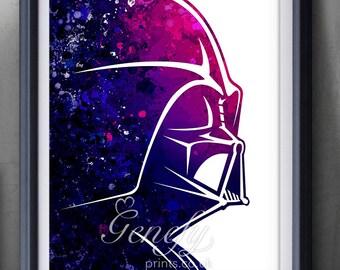 Star Wars Darth Vader Watercolor Art Silhouette Poster Print - Wall Decor - Illustration - Home Decor - Kids Decor - Nursery Decor