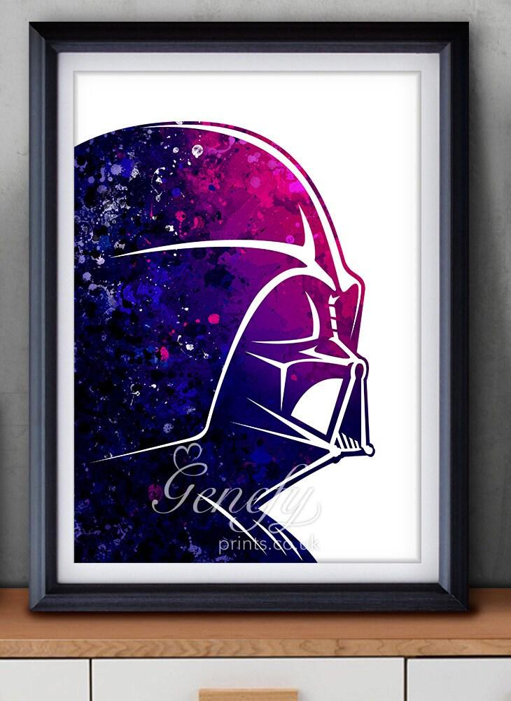 Star Wars Darth Vader Watercolor Art Silhouette Poster Print