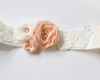 Wedding sash, peach/ivory bridal wedding dress sash/belt, bride/bridesmaid, pearls, ivory wedding sash belt, rhinestones