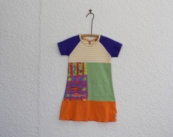 Upcycled TShirt Dress Size 4, Recycled T Shirt Dress, Repurposed Tshirt Dress,  Little Girl's Dress, Toddler Dress, Handmade T Shirt Dress