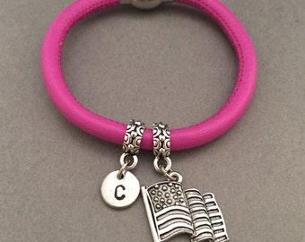 American flag leather bracelet, American flag charm bracelet, leather bangle, personalized bracelet, initial bracelet, monogram